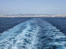 Wake of the Tunisian ferry leaving Marseilles Stock Images