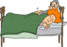 Wake up. This illustration that I created depicts a husband waking up his sleeping wife Royalty Free Stock Images