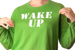Wake up. The girl's blouse, the blouse label wake up Royalty Free Stock Images
