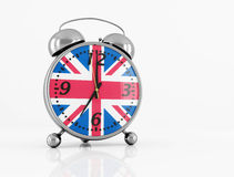 Wake up. Vintage alarm clock with British flag isolated on white - rendering Royalty Free Stock Photos