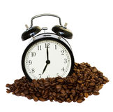 Wake up!. Clock and a raw coffe - wake up! concept royalty free stock images