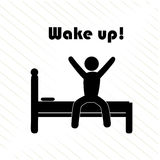 Wake up. Over white background vector illustration Stock Photos