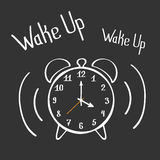 Wake Up Alarm Clock Lettering Poster. Hand Drawn Vector. Wake Up Alarm Clock Lettering Poster. Hand Drawn Vector Design Element Stock Photo
