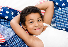 Wake up american boy Stock Images