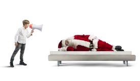 Wake up asleep Santa Claus stock photos