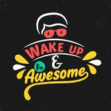 Wake up and be awesome. Premium motivational quote. Typography quote. Vector quote with black background vector illustration