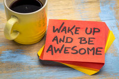 Wake up and be awesome inspirational note Royalty Free Stock Image