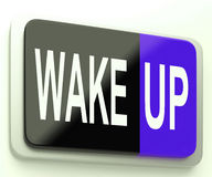 Wake Up Button Awake and Rise. Wake Up Button Means Awake and Rise Royalty Free Stock Images