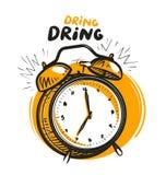 Wake-up call, alarm clock is ringing. Vector illustration Stock Photos