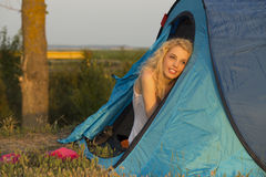 Wake up in camping at sunrise Royalty Free Stock Photo