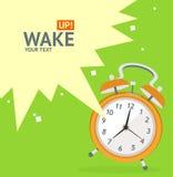 Wake Up Clock Concept Card. Vector Royalty Free Stock Photos