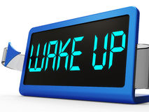 Wake Up Clock Message Means Awake And Rise Royalty Free Stock Photos