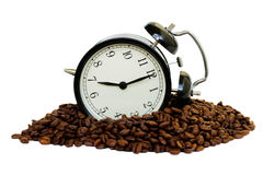 Wake up! concept. Clock and a raw coffe on - wake up! concept royalty free stock images