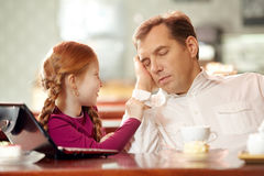 Wake up, daddy! Royalty Free Stock Photography