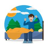 Wake up design. Boy stretching of wake up morning awake and routine theme Vector illustration Stock Image