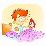 Wake up late. Awake boy is shocked because it is too late Royalty Free Stock Image