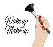 Wake up and make-up quote. Vector beauty poster. Hand with red nails holding make up brush, feminine print. Cool glamour royalty free illustration