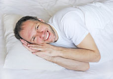 Wake up man portrait Stock Image