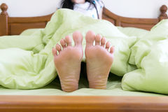 Wake up in the morning. On bed Get up from the couch Stock Photography