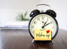 Wake up. Morning wake up concept with alarm clock royalty free stock image