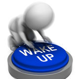 Wake Up Pressed Shows Alarm And Rising Stock Photos