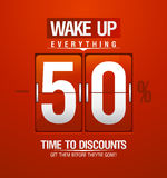 Wake up -50% sale design for coupon. Stock Image