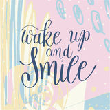 Wake up and smile handwritten lettering positive quote on abstra. Ct pastel pattern to printable wall art, home decor, greeting card and other, modern royalty free illustration