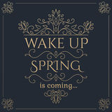 Wake up Spring is coming golden lettering. Stock Photo
