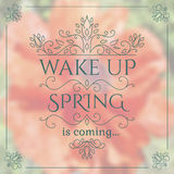 Wake up. Spring is coming lettering on unfocused Stock Photos