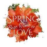 Wake up. Spring is coming lettering on unfocused Stock Photography