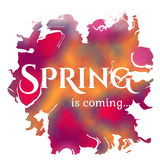 Wake up. Spring is coming lettering on unfocused Stock Images