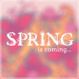 Wake up. Spring is coming lettering on unfocused Royalty Free Stock Photography