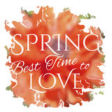 Wake up. Spring is coming lettering on unfocused Stock Photo