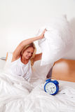 Wake up and stand up. Alarm Clock (Clock rings). Stock Photo