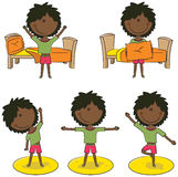 Wake up time. Cute african-american girl perform morning activities Royalty Free Stock Images