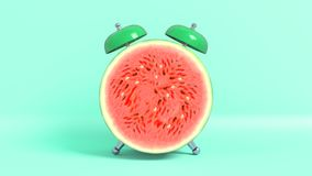 Wake up vintage morning shaped watermelon. 3D rendering. vector illustration