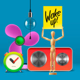 Wake up. Workspace mock up with analog alarm clock Royalty Free Stock Images