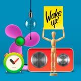 Wake up. Workspace mock up with analog alarm clock. Sound system, fan, wooden mannequin, vector illustration royalty free illustration