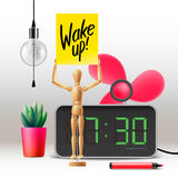 Wake up. Workspace mock up with digital alarm Stock Images