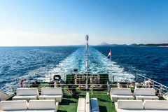 Wake water trail from a ferry ship in Croatia Stock Photos