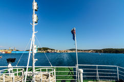 Wake water trail from a ferry ship in Croatia. Royalty Free Stock Photo