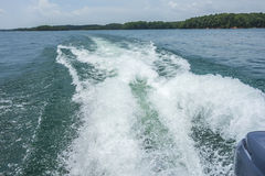 Wake waves from boat on  lake Stock Photography