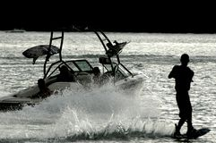wakeboard силуэта Стоковые Изображения RF