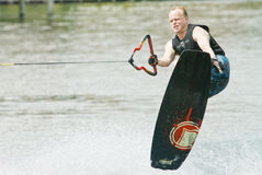 Wakeboard Competitor Display His Skills Royalty Free Stock Images
