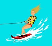 Wakeboard di guida della donna attività estrema di divertimento di sport di estate illustrazione di stock