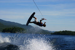Wakeboard flip. On a lake in summer time Stock Photos
