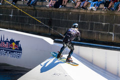 Wakeboard freestyle rider does tricks at competition Stock Photography