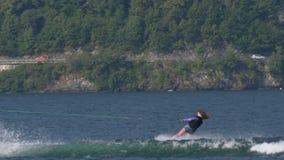Wakeboard kobieta Skacze Motorboat zdjęcie wideo