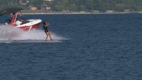 Wakeboard kobieta Skacze Motorboat zbiory