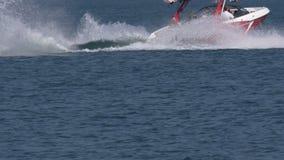 Wakeboard mężczyzna skoku Motorboat spadek zdjęcie wideo